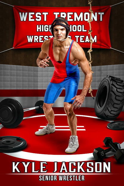 Player Banner Sports Photo Template Wrestling