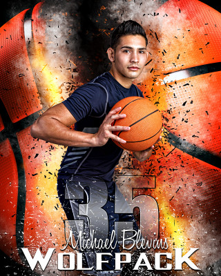 SPORTS POSTER PHOTO TEMPLATE - BASKETBALL INFERNO