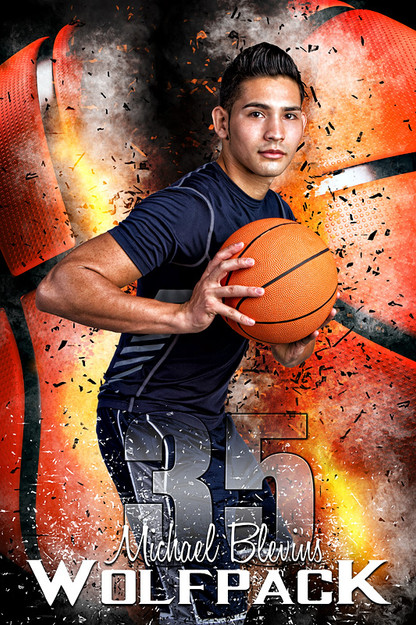 Player banner sports photo template basketball inferno for Sports team photography templates