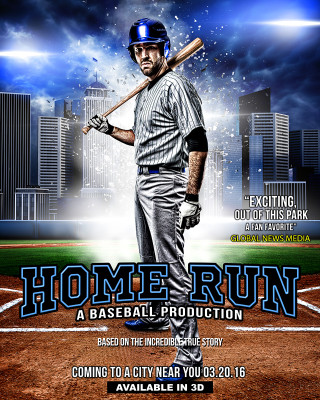 SPORTS POSTER PHOTO TEMPLATE - HOME RUN