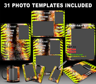 SOFTBALL PHOTO TEMPLATES - INFERNO COLLECTION