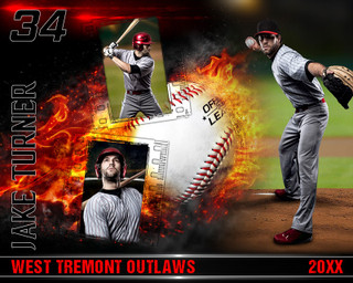 BASEBALL PHOTO COLLAGE - ON FIRE