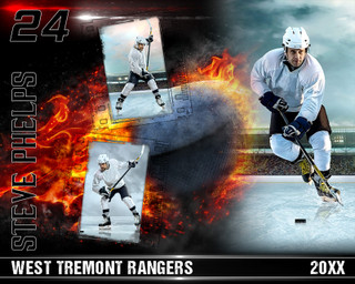 HOCKEY PHOTO COLLAGE - ON FIRE