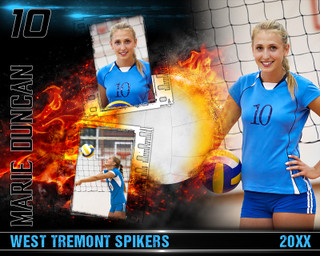 VOLLEYBALL PHOTO COLLAGE - ON FIRE