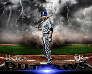 SPORTS POSTER PHOTO TEMPLATE - BASEBALL - DESTRUCTION