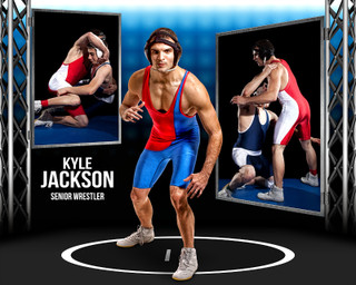 WRESTLING PHOTO COLLAGE - STEEL TOWER