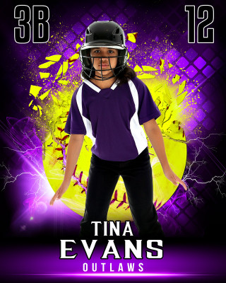 SPORTS POSTER PHOTO TEMPLATE - SHATTERED SOFTBALL