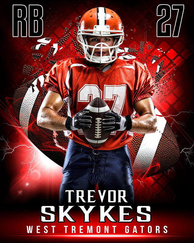 Sports poster photo template for football shattered football for Youth sports photography templates