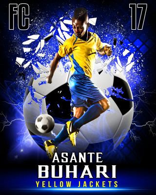 SPORTS POSTER PHOTO TEMPLATE - SHATTERED SOCCER BALL