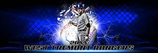 PANORAMIC SPORTS BANNER TEMPLATE - SHATTERED BASEBALL