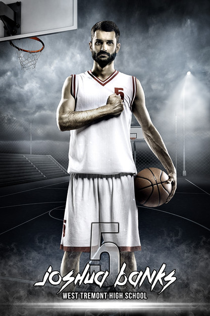 Player banner sports photo template streetball for Sports team photography templates