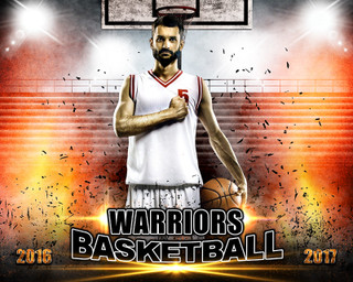 SPORTS POSTER PHOTO TEMPLATE - HORIZONTAL - IMPACT BASKETBALL