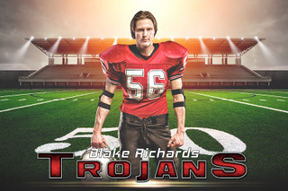 PLAYER BANNER PHOTO TEMPLATE - HORIZONTAL - FOOTBALL SUNRISE