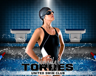 SPORTS POSTER PHOTO TEMPLATE - HORIZONTAL - SWIM