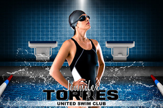 PLAYER BANNER PHOTO TEMPLATE - HORIZONTAL - SWIM