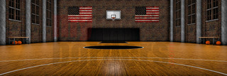 DIGITAL BACKGROUND - OLD SCHOOL BASKETBALL - PANORAMIC