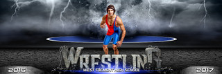 PANORAMIC SPORTS BANNER TEMPLATE - WRESTLING - DESTRUCTION