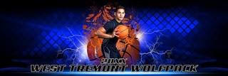 PANORAMIC SPORTS BANNER TEMPLATE - SHATTERED BASKETBALL