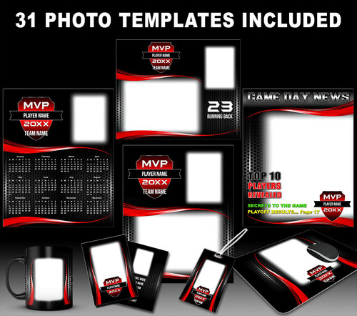 sports team photography templates - mvp sports photo template collection