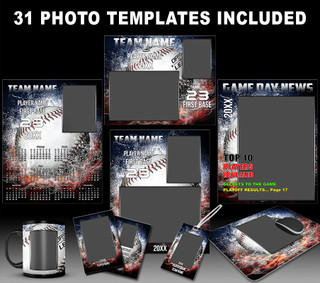 Splash Baseball Photo Template Collection
