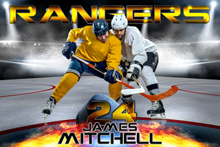 PLAYER BANNER PHOTO TEMPLATE - HORIZONTAL - FIRE AND ICE - PHOTOSHOP SPORTS TEMPLATE