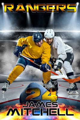 PLAYER BANNER PHOTO TEMPLATE - FIRE AND ICE - PHOTOSHOP SPORTS TEMPLATE