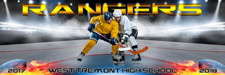 PANORAMIC SPORTS BANNER TEMPLATE - FIRE AND ICE - PHOTOSHOP SPORTS TEMPLATE FOR HOCKEY