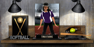 10X20 PHOTO TEMPLATE - SOFTBALL SHELF - PHOTOSHOP LAYERED SPORTS TEMPLATE