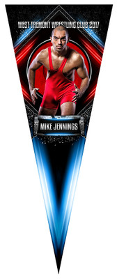 PENNANT PHOTO TEMPLATE - CHAINED METAL - WRESTLING