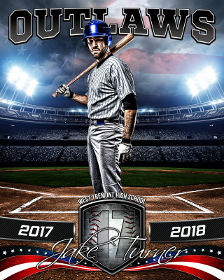 SPORTS POSTER PHOTO TEMPLATE - AMERICAN BASEBALL - PHOTOSHOP SPORTS TEMPLATE