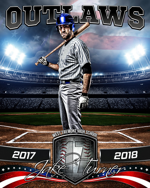 Sports poster photo template american baseball for Sports team photography templates