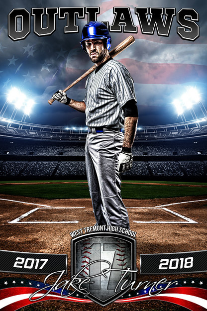 sports team photography templates - player banner sports photo template american baseball