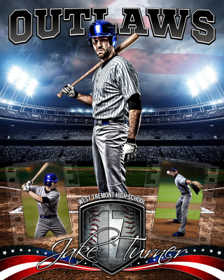 AMERICAN BASEBALL 16x20 PHOTO COLLAGE - LAYERED PHOTOSHOP SPORTS TEMPLATE