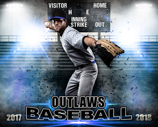 SPORTS POSTER PHOTO TEMPLATE - HORIZONTAL - IMPACT BASEBALL - LAYERED PHOTOSHOP SPORTS TEMPLATE