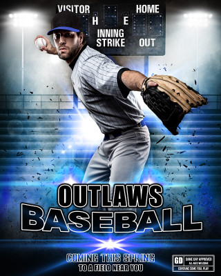 SPORTS POSTER PHOTO TEMPLATE - IMPACT BASEBALL - LAYERED PHOTOSHOP SPORTS TEMPLATE