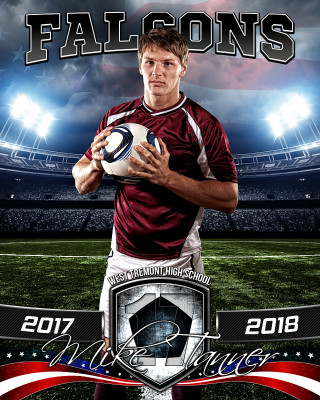 SPORTS POSTER PHOTO TEMPLATE - AMERICAN SOCCER - PHOTOSHOP SPORTS TEMPLATE