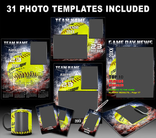 Splash Softball Photo Template Collection