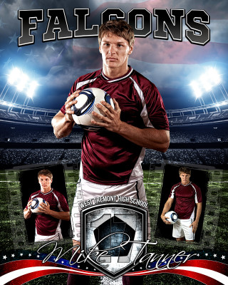 AMERICAN SOCCER 16x20 PHOTO COLLAGE - LAYERED PHOTOSHOP SPORTS TEMPLATE