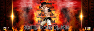 PANORAMIC  BANNER TEMPLATE - MARTIAL ARTS - LAYERED PHOTOSHOP SPORTS TEMPLATE