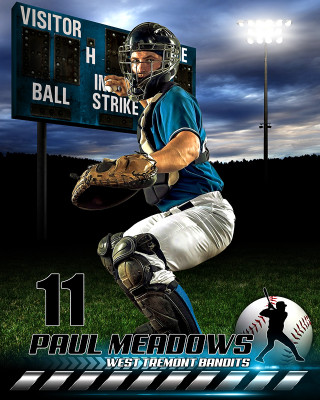 SPORTS POSTER PHOTO TEMPLATE - HOMETOWN BASEBALL II - PHOTOSHOP SPORTS TEMPLATE