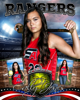 AMERICAN SOFTBALL 16x20 PHOTO COLLAGE - LAYERED PHOTOSHOP SPORTS TEMPLATE