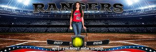 PANORAMIC SPORTS BANNER TEMPLATE - AMERICAN SOFTBALL - LAYERED PHOTOSHOP SPORTS TEMPLATE