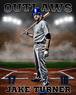 SPORTS POSTER PHOTO TEMPLATE - UP IN SMOKE - BASEBALL - LAYERED PHOTOSHOP SPORTS TEMPLATE