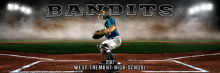 PANORAMIC SPORTS BANNER TEMPLATE - UP IN SMOKE - BASEBALL - LAYERED PHOTOSHOP SPORTS TEMPLATE