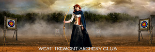 PANORAMIC SPORTS BANNER TEMPLATE - ARCHERY RANGE - LAYERED PHOTOSHOP SPORTS TEMPLATE