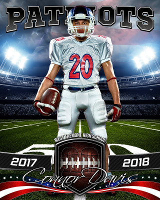 SPORTS POSTER PHOTO TEMPLATE - AMERICAN FOOTBALL - PHOTOSHOP SPORTS TEMPLATE