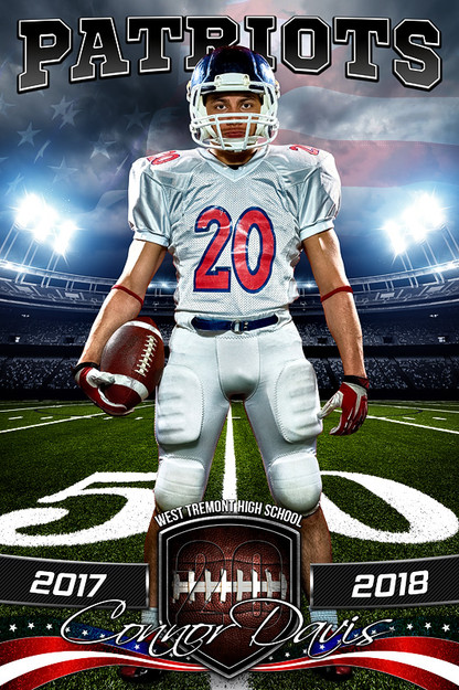 Player banner sports photo template american football for Sports team photography templates