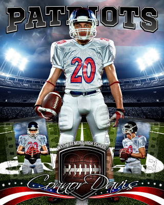 AMERICAN FOOTBALL 16x20 PHOTO COLLAGE - LAYERED PHOTOSHOP SPORTS TEMPLATE