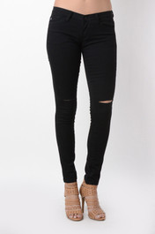 Black Lightly Distressed Skinnies