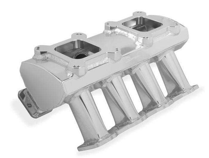 Holley Sniper Hi-Ram LS1 Carbureted Intake Manifold 821061 - Fabricated, Dual Quad, Silver Finish